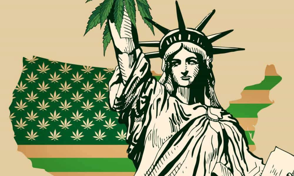 the statue of liberty ands a cannabis leaf cartoon